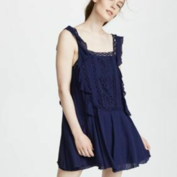 Free People Dresses & Skirts - Free People FP One Priscilla Eyelet Navy Dress XS